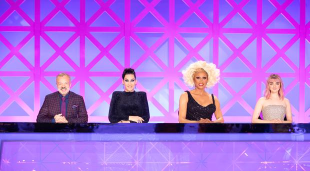 Graham Norton, Michelle Visage, RuPaul and Maisie Williams on RuPaul's Drag Race UK (BBC/Guy Levy/PA