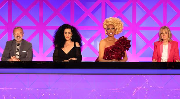 Graham Norton, Michelle Visage, RuPaul and Twiggy (Guy Levy/BBC/PA)