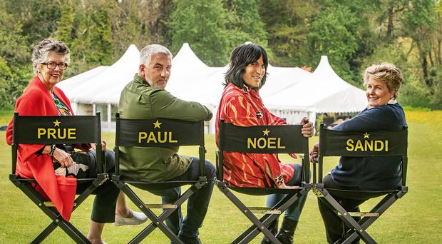 The Great British Bake Off presenters (left to right) Prue Leith, Paul Hollywood, Noel Fielding and Sandi Toksvig. (C4/Love Productions/Mark Bourdillon/PA)