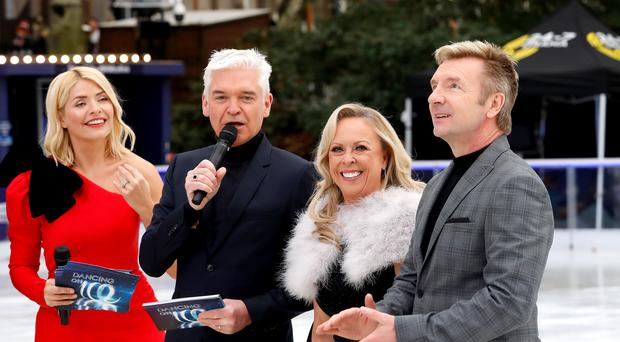 Holly Willoughby (left to right), Phillip Schofield, Jayne Torvill and Christopher Dean (David Parry/PA)