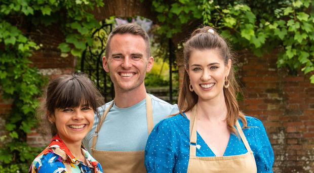 The Great British Bake Off 2019 finalists (left to right) Steph, David, Alice. (Mark Bourdillon/Love Productions)