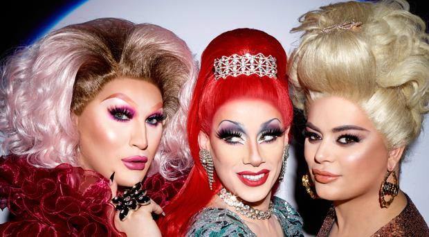 The three remaining queens from RuPaul's Drag Race UK have appeared in a colourful photoshoot by fashion photographer Rankin before the show's grand finale (Drag Race UK x Rankin for Grazia/PA)