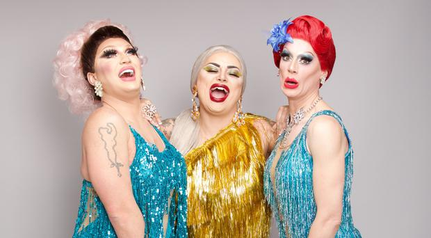 Finalists The Vivienne, left to right, Baga Chipz and Divina De Campo (Guy Levy/World of Wonder/BBC/PA)