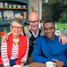 Junior Bake Off judges Prue Leith and Liam Charles with host Harry Hill, centre, (Mark Bourdillon/Love Productions/PA)