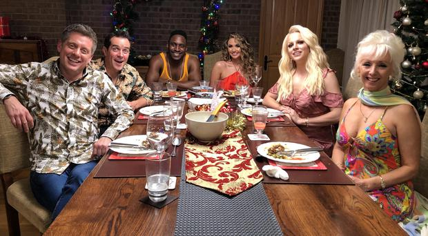 Richard McCourt, Dominic Wood, Stevo The Mad Man (aka Kevin Phillips), Charlotte Dawson, Shane Janek (aka Courtney Act) and Debbie McGee (E4)