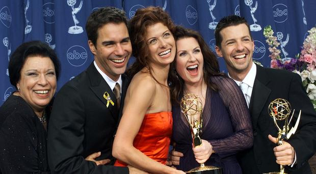 Shelley Morrison and the Will And Grace cast celebrating at the Emmy Awards (Kevork Djansezian/AP)