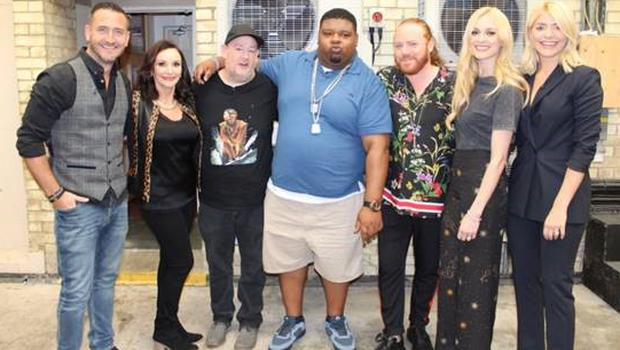 Shirley Ballas (left) alongside Johnny Vegas and the rest of the guests for Thursday's Celebrity Juice.