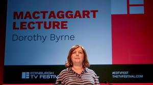 Dorothy Byrne delivers the MacTaggart Lecture in 2019 (Jane Barlow/PA)
