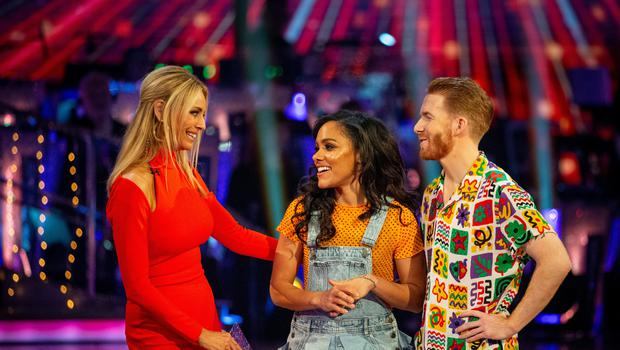 Tess Daly with Alex Scott and Neil Jones (Guy Levy/BBC)