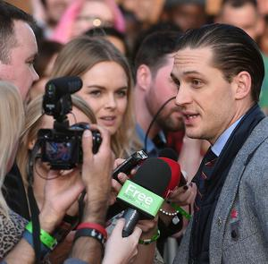 Tom Hardy attends the premiere of his film Locke at Cineworld Broad Street, Birmingham