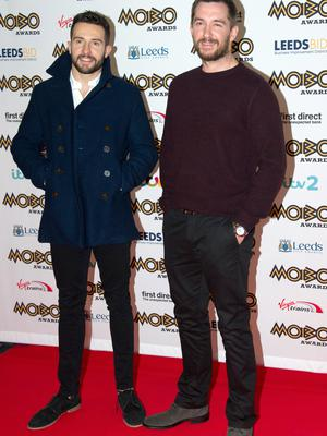 Michael Parr alongside fellow Emmerdale star Anthony Quinlan at the MOBO awards