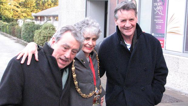 Then Aberystwyth town mayor Sue Jones-Davies pictured outside the Aberystwyth Arts Centre with Monty Python stalwarts Terry Jones and Michael Palin ahead of a special screening of the Life Of Brian (Gareth Llewellyn/PA)