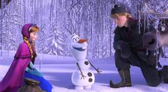 Kristen Bell, Josh Gad and Jonathan Groff voice Anna, Olaf and Kristoff in Frozen (Disney)