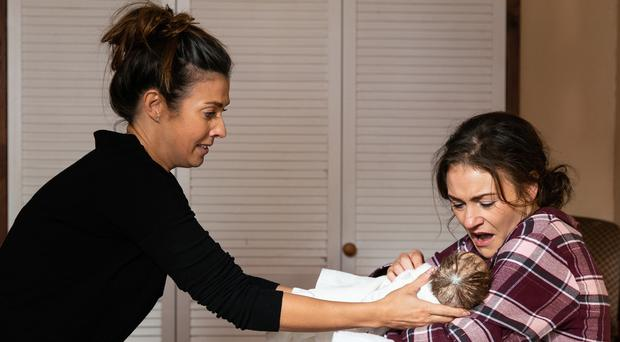 This is the moment Michelle Connor delivers the baby of her love rival Vicky Jefferies (Danielle Baguley/ITV/PA)