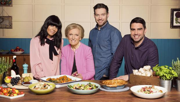 Mary Berry, Claudia Winkleman, Chris Bavin, Dan Doherty, the team behind the new show (Ray Burmiston/KEO/BBC)