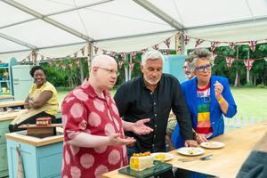 Matt Lucas with judges Paul Hollywood and Prue Leith (C4/Love Productions/Mark Bourdillon)