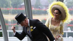 Sir Bruce making his trademark pose at Ascot Racecourse (Steve Parsons/PA Wire/PA Images)