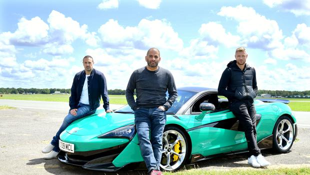 Chris Harris with Paddy McGuinness (left) and Freddie Flintoff (right) (Ian West/PA)