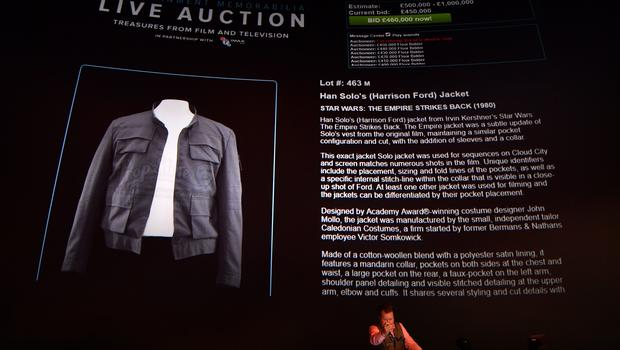 Bids reached £450,000 on Han Solo's jacket, worn by Harrison Ford in Star Wars: The Empire Strikes Back (John Stillwell/PA)