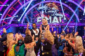 Joanne Clifton and Ore Oduba celebrate after winning Strictly Come Dancing in 2016 (BBC/PA)