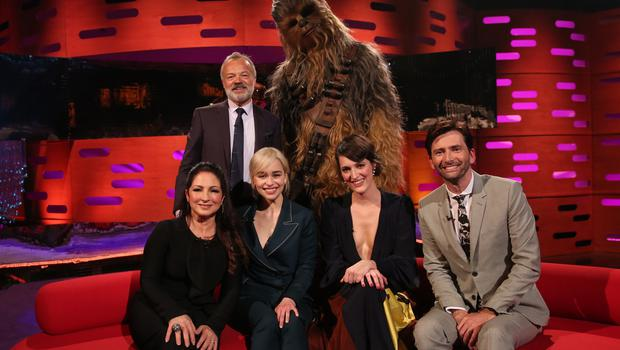 Chewbacca, Graham Norton, Gloria Estefan, Emilia Clarke, Phoebe Waller-Bridge and David Tennant filming the Graham Norton Show (PA Images on behalf of So TV)