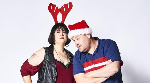 Gavin and Stacey Christmas Special stars Ruth Jones and James Corden in character (Tom Jackson/TV Productions Ltd/BBC)