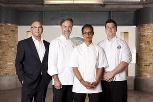 Judges Gregg Wallace, Marcus Wareing and Monica Galetti with Jamie Scott who won MasterChef: The Professionals in 2014 (Plank PR/PA)