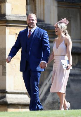 James Haskell and Chloe Madeley arriving at St George's Chapel at Windsor Castle for the wedding of Meghan Markle and Prince Harry. (Chris Jackson/PA)