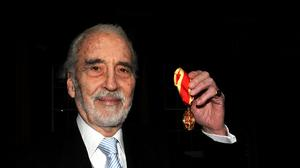 Actor Sir Christopher Lee after receiving his Knighthood at Buckingham Palace