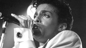 Prince pictured performing in 1986