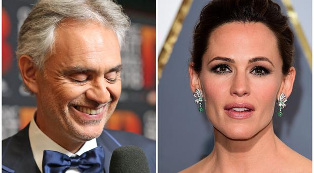 Jennifer Garner makes musical debut in duet with Andrea Bocelli (PA)