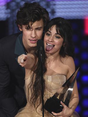 Shawn Mendes and Camila Cabello were celebrating after winning collaboration of the year for Senorita (Chris Pizzello/Invision/AP)