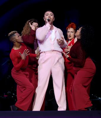 Sam Smith on stage at London's O2 Arena (Isabel Infantes/PA)