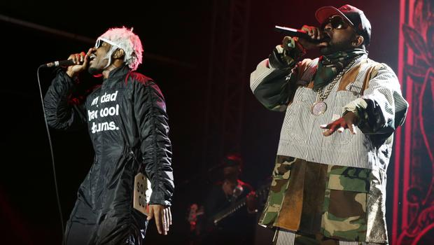Andre 3000 (left) and Big Boi of Outkast performing at Bestival in 2014 (Yui Mok/PA)