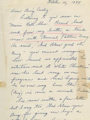 A letter sent to the star (Bing Crosby estate)