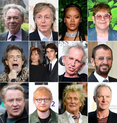 (l to r) Andrew Lloyd Webber, Sir Paul McCartney, Rihanna and Sir Elton John. (Middle row l to r) Sir Mick Jagger, Olivia and Dhani Harrison, Keith Richards and Sir Ringo Starr. (Bottom row l to r) Michael Flatley, Ed Sheera, Sir Rod Stewart and Sting (PA)