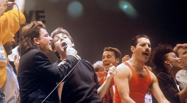 Bono, Paul McCartney and Freddie Mercury were among the stars at Live Aid (PA)