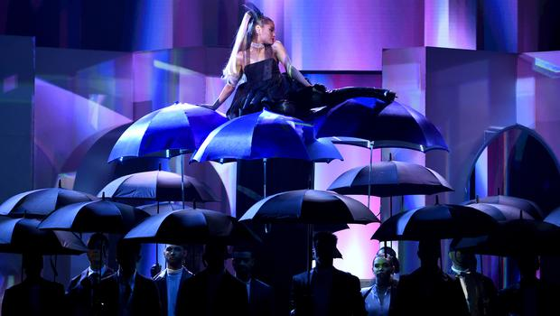 """Ariana Grande performs """"No Tears Left To Cry"""" at the Billboard Music Awards in Las Vegas. (Chris Pizzello/Invision/AP)"""