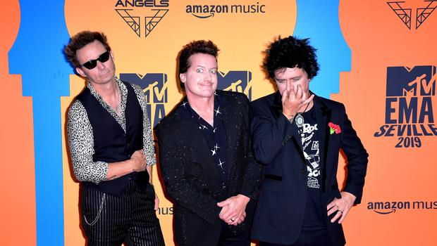 Tre Cool, Mike Dirnt and Billie Joe Armstrong of Green Day (Ian West/PA)