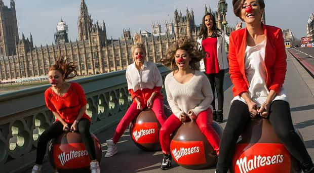 The Saturdays took part in a a spacehopper race for Red Nose Day