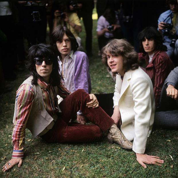 Rolling Stones' Keith Richards, Mick Jagger, Mick Taylor and Bill Wyman before their 1969 concert at Hyde Park