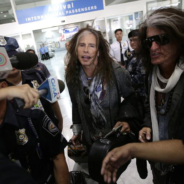 Steven Tyler of Aerosmith arrives in Manila