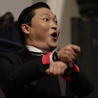 PSY speaks in Memorial Church at Harvard University (AP/Elise Amendola)