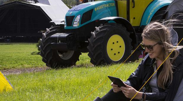A tractor will be converted into a 4G wifi hotspot at Glastonbury (EE/PA)