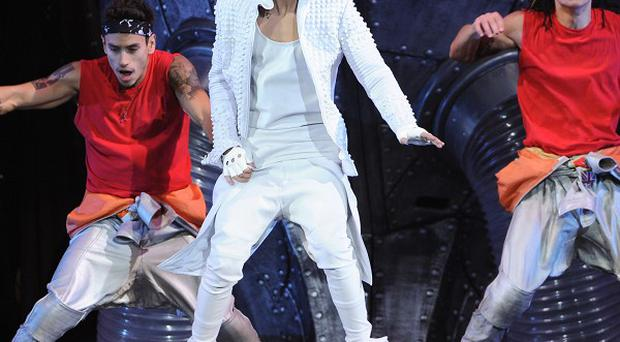 Singer Justin Bieber had problems with his baggy trousers