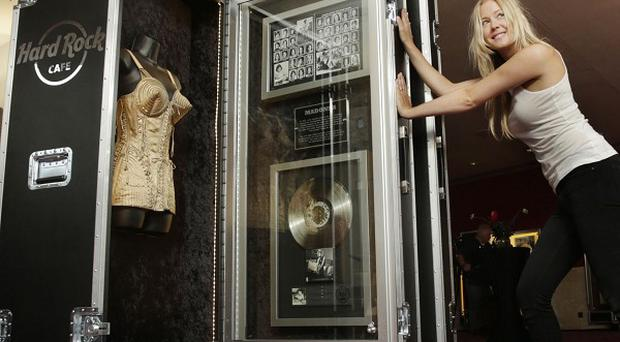 Madonna's cone bra costume designed by Jean Paul Gaultier is part of the Hard Rock Cafe's Couture Exhibition