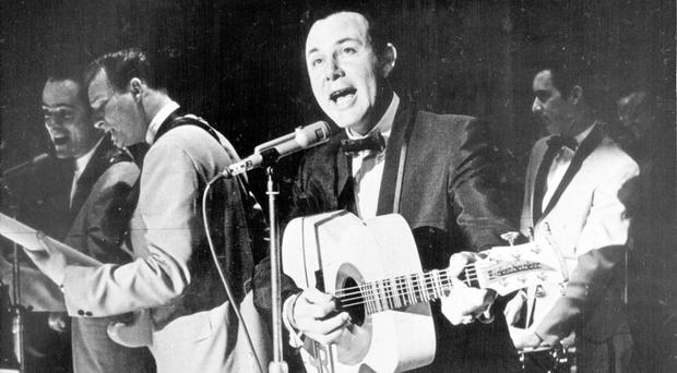 Untimely death: Jim Reeves, singing in Belfast, died at just 40 in a plane crash