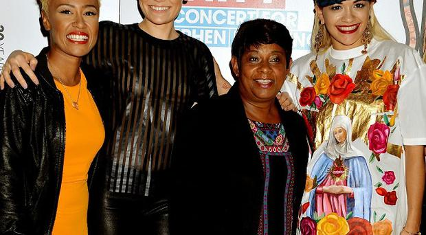 Emeli Sande, Jessie J, Doreen Lawrence and Rita Ora attend Unity: A concert for Stephen Lawrence, at the O2 Arena