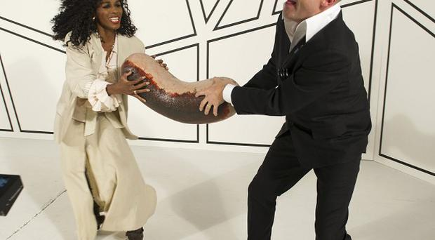 Sinitta stars with Harry Hill in the spoof version of Take On Me by A-Ha for BBC Children in Need.