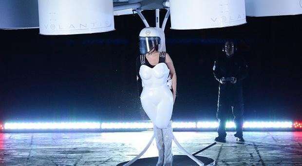 Lady Gaga demonstrates the Volantis transport prototype
